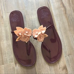 Tory Burch flower blossom jelly sandals